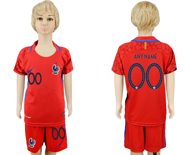 Youth 2018 World Cup France red goalkeeper customized soccer jersey