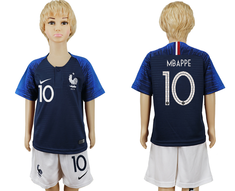 Youth 2018 World Cup French home 10 blue soccer jersey