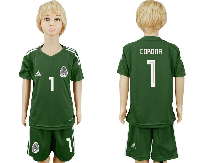 Youth 2018 World Cup Mexico army green goalkeeper 1 soccer jersey