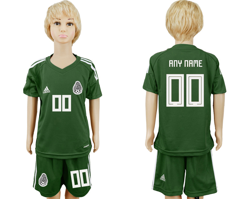 Youth 2018 World Cup Mexico army green goalkeeper customized soccer jersey