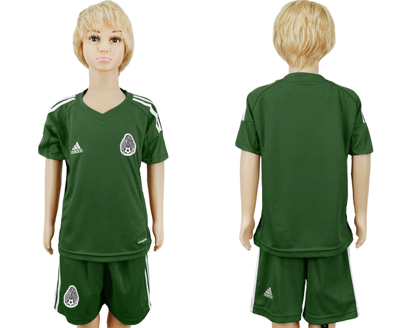 Youth 2018 World Cup Mexico army green goalkeeper soccer jersey