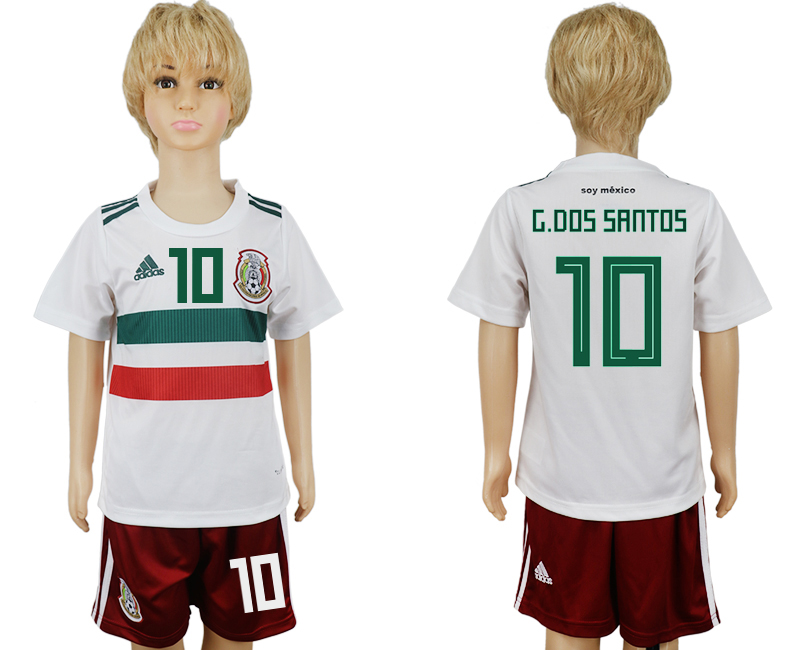 Youth 2018 World Cup Mexico away 10 white soccer jersey