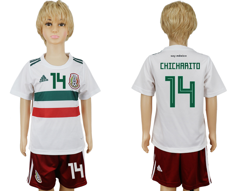 Youth 2018 World Cup Mexico away 14 white soccer jersey