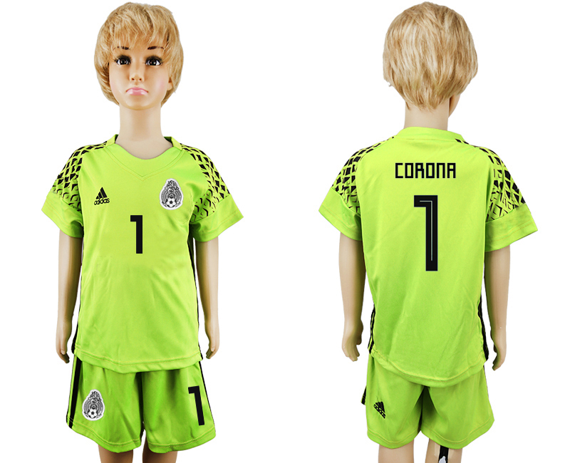 Youth 2018 World Cup Mexico fluorescent green goalkeeper 1 soccer jersey