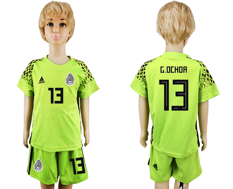 Youth 2018 World Cup Mexico fluorescent green goalkeeper 13 soccer jersey