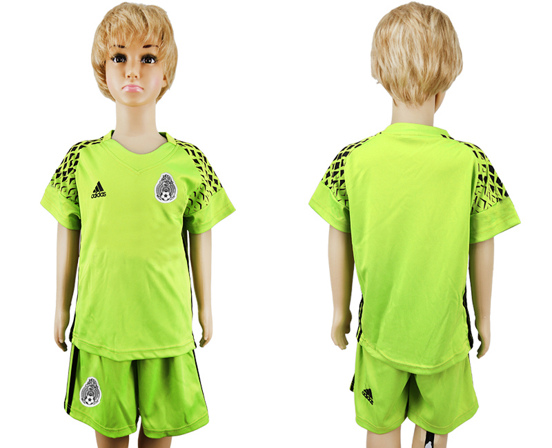Youth 2018 World Cup Mexico fluorescent green goalkeeper soccer jersey
