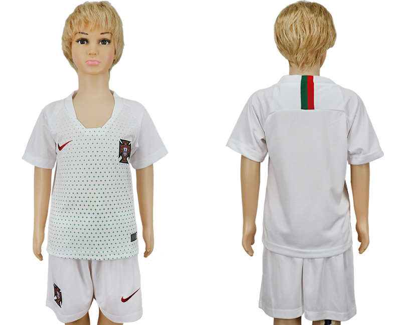 Youth 2018 World Cup Portugal away blank white soccer jersey
