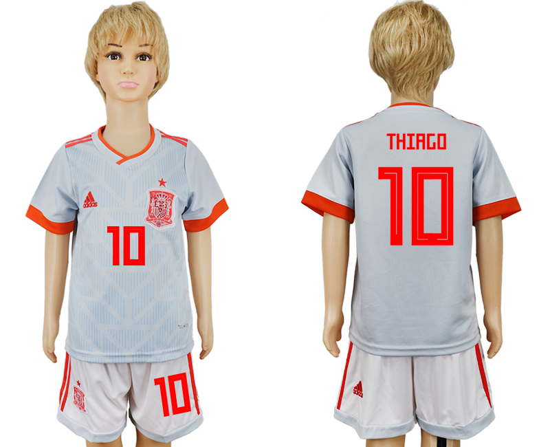 Youth 2018 World Cup Spain away 10 grey soccer jersey