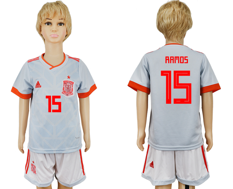 Youth 2018 World Cup Spain away 15 grey soccer jersey