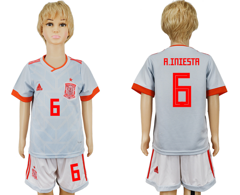 Youth 2018 World Cup Spain away 6 grey soccer jersey