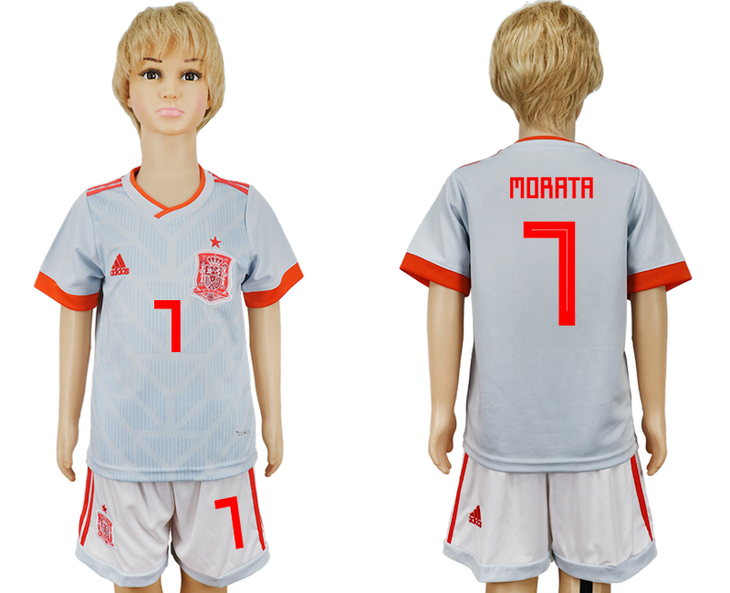 Youth 2018 World Cup Spain away 7 grey soccer jersey
