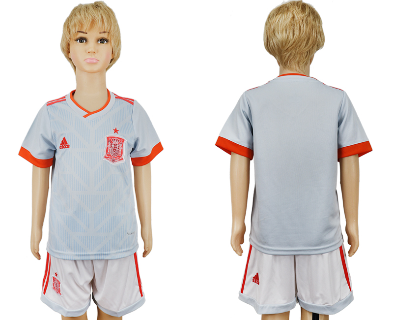 Youth 2018 World Cup Spain away grey soccer jersey