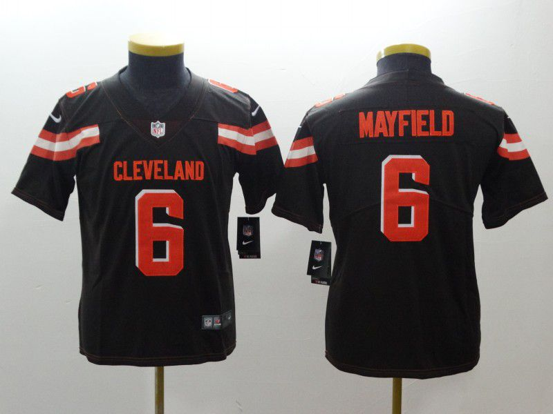 Youth Cleveland Browns 6 Mayfield Brown Nike Vapor Untouchable Playe NFL Jerseys