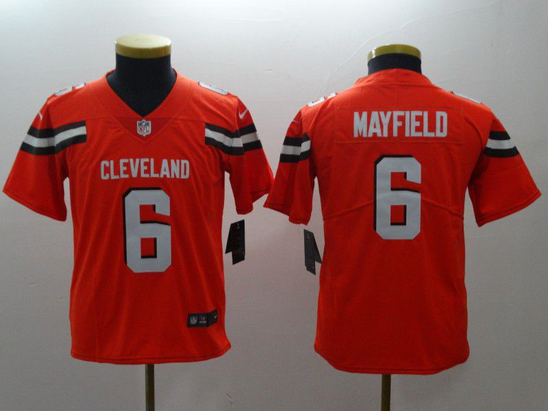 Youth Cleveland Browns 6 Mayfield Orange Nike Vapor Untouchable Playe NFL Jerseys