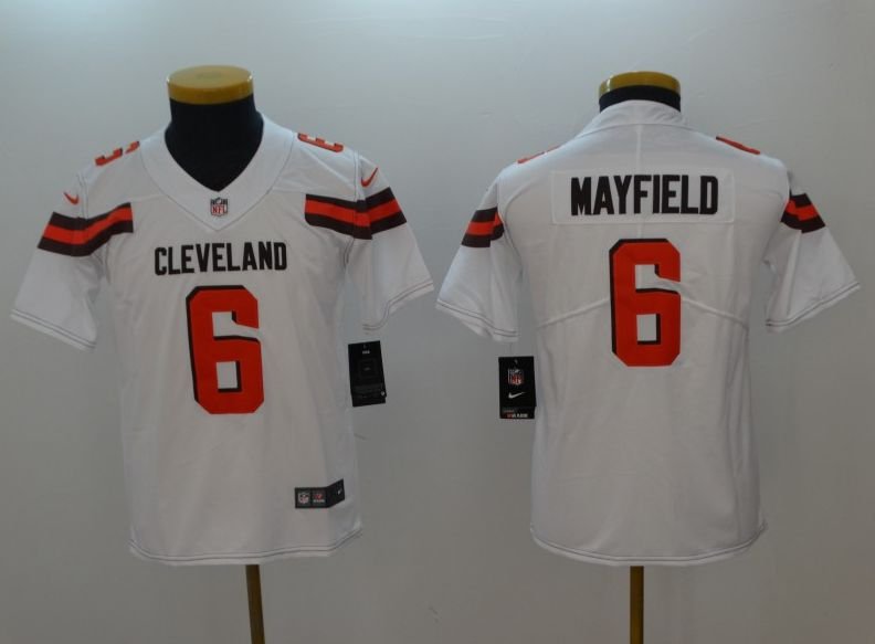 Youth Cleveland Browns 6 Mayfield White Nike Vapor Untouchable Playe NFL Jerseys