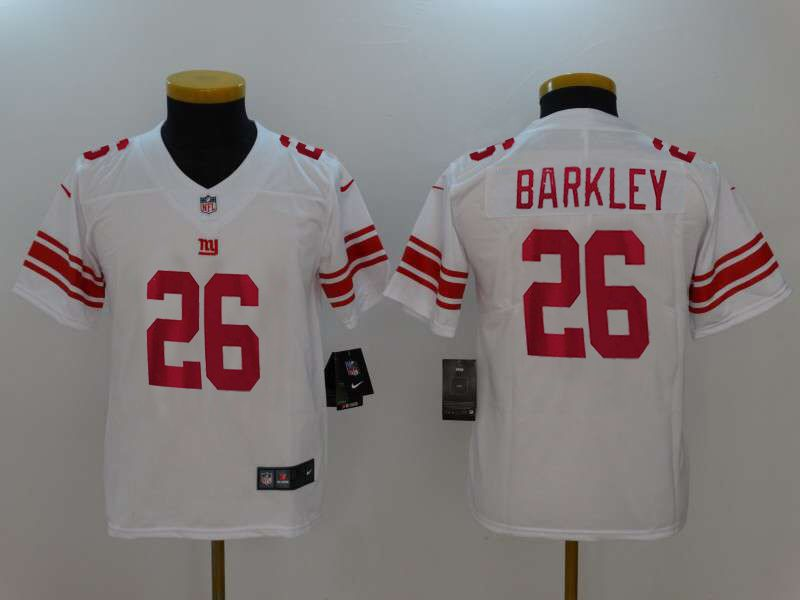 Youth New York Giants 26 Barkley White Nike Vapor Untouchable Limited NFL Jerseys