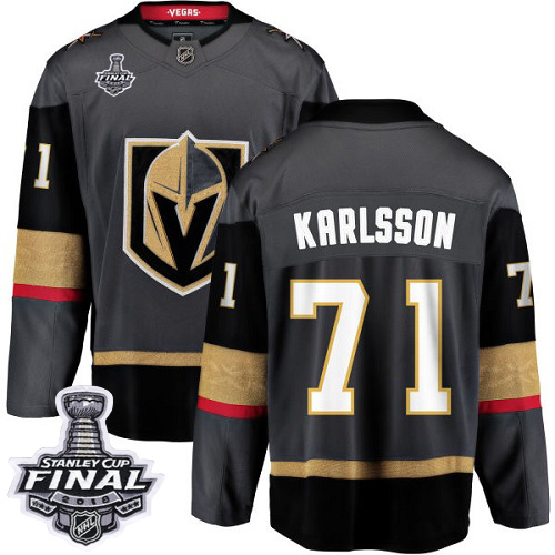 Youth Vegas Golden Knights 71 Karlsson Fanatics Branded Breakaway Home Dark Adidas NHL Jersey 2018 Stanley Cup Final Patch