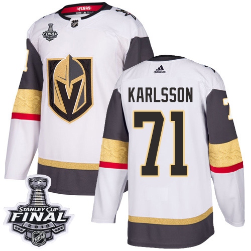 Youth Vegas Golden Knights 71 Karlsson Fanatics Branded Breakaway Home White Adidas NHL Jersey 2018 Stanley Cup Final Patch