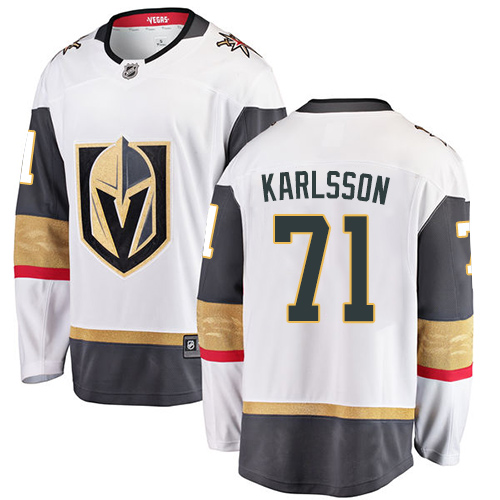Youth Vegas Golden Knights 71 Karlsson Fanatics Branded Breakaway Home White Adidas NHL Jersey