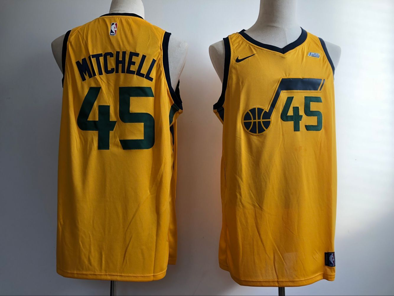 2018 Men Utah Jazz 45 Mitchell yellow Nike NBA Jerseys