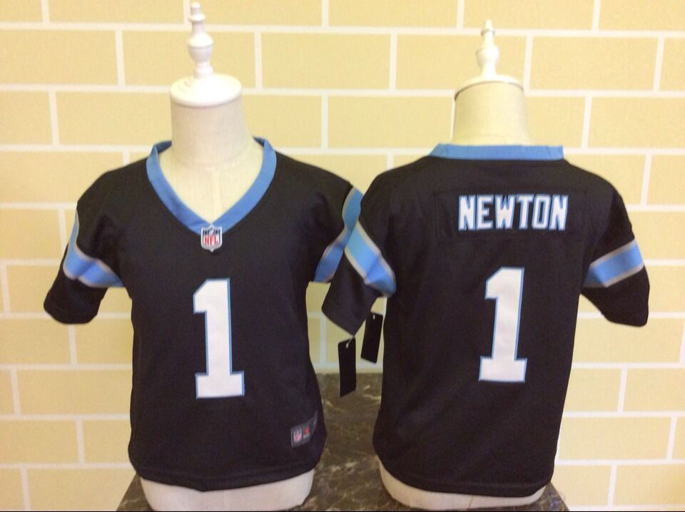 Baby Carolina Panthers 1 Newton Black Nike NFL Jerseys