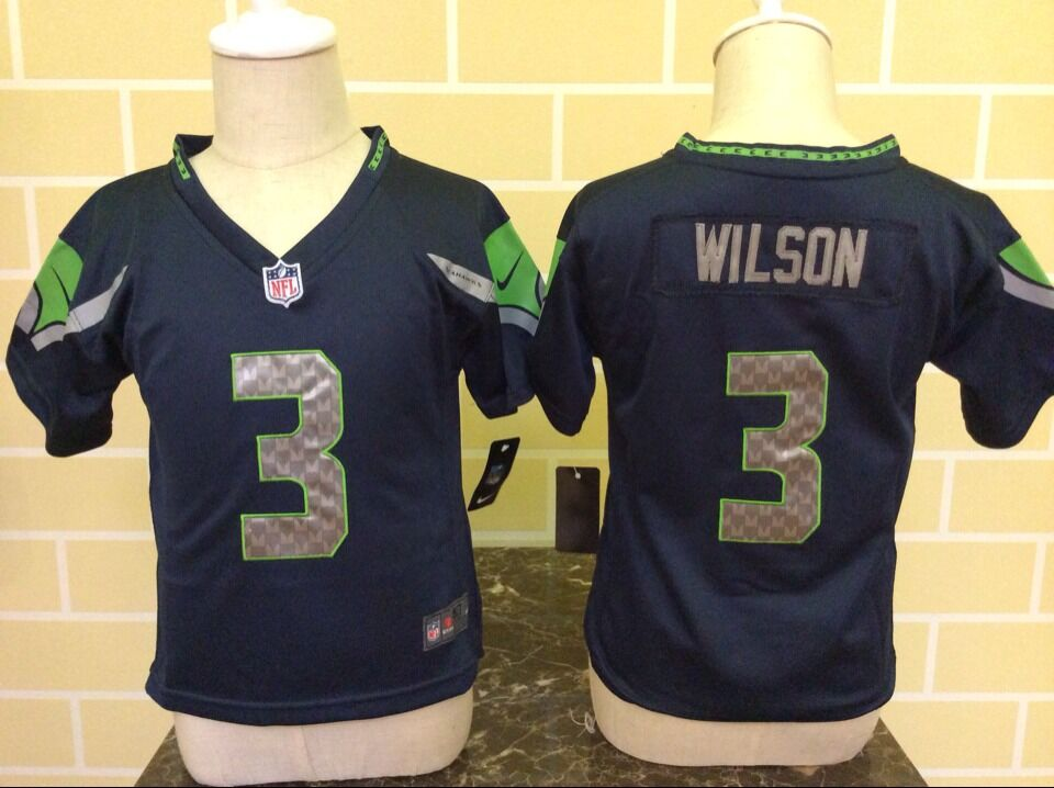 Baby Seattle Seahawks 3 Wilson Blue Nike NFL Jerseys
