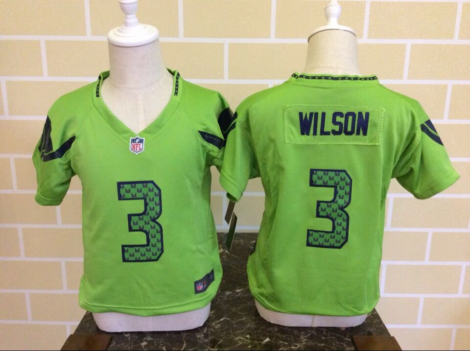 Baby Seattle Seahawks 3 Wilson Green Nike NFL Jerseys