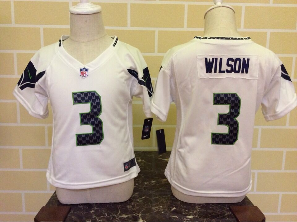 Baby Seattle Seahawks 3 Wilson White Nike NFL Jerseys