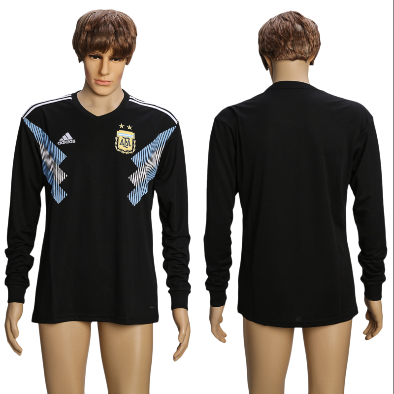 Men 2018 World Cup Argentina away long sleeve AAA soccer jersey