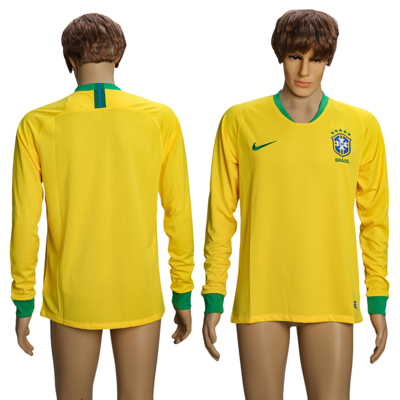 Men 2018 World Cup Brazil Home long sleeve AAA soccer jersey