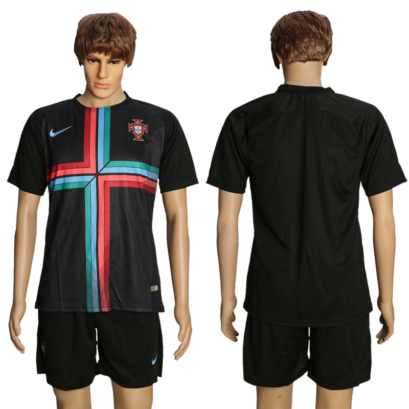 Men 2018 World Cup Portuguese black training suit soccer jersey