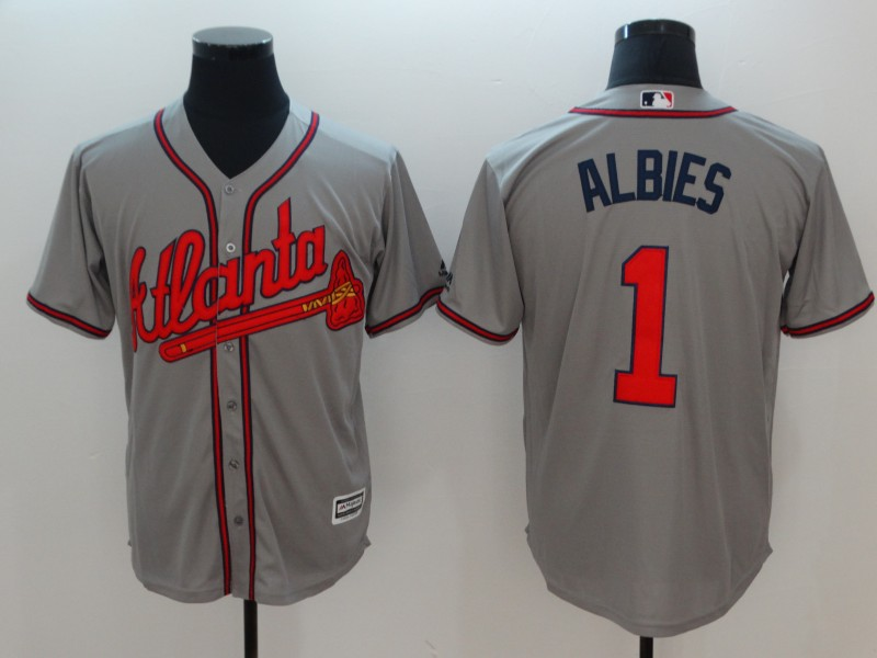 Men Atlanta Braves 1 Albies Grey Game MLB Jerseys