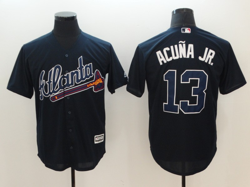 Men Atlanta Braves 13 Acuna JR Blue Game MLB Jerseys