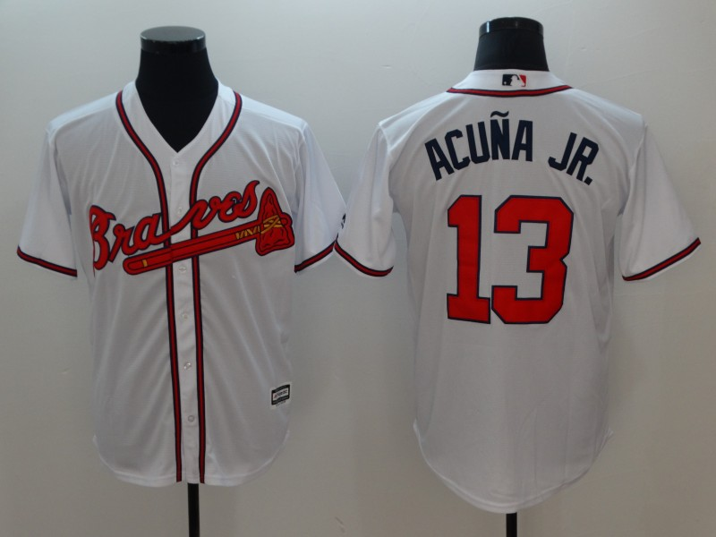 Men Atlanta Braves 13 Acuna jr White Game MLB Jerseys