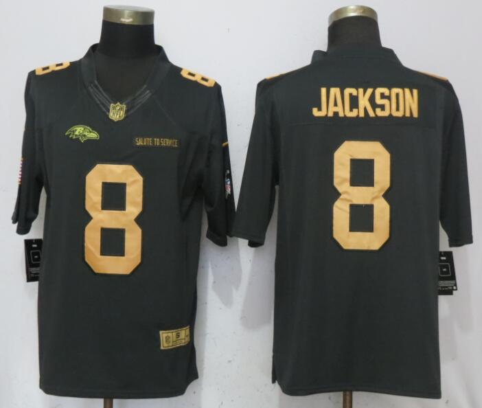 Men Baltimore Ravens 8 Jackson Gold Anthracite Salute To Service Nike Limited NFL Jerseys