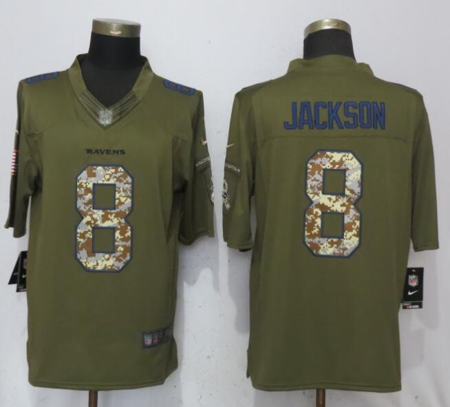 Men Baltimore Ravens 8 Jackson Green Salute To Service Nike Limited NFL Jerseys
