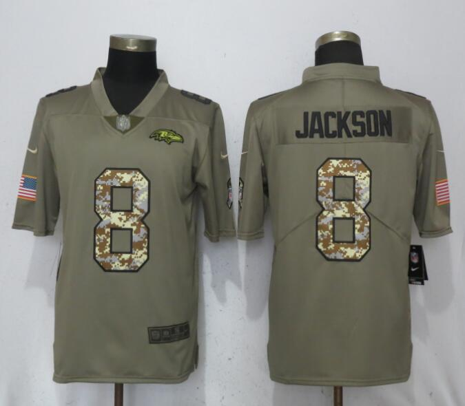 Men Baltimore Ravens 8 Jackson Olive Camo Carson Salute to Service Nike Limited NFL Jerseys