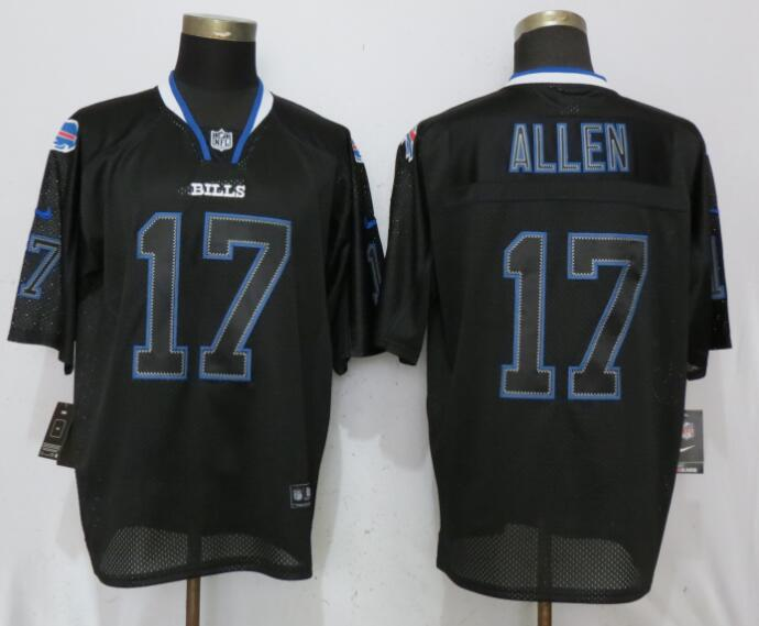 Men Buffalo Bills 17 Allen Lights Out Black Elite Nike NFL Jerseys