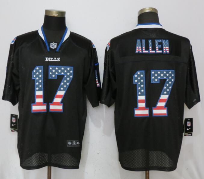 Men Buffalo Bills 17 Allen USA Flag Fashion Black Elite Nike NFL Jerseys