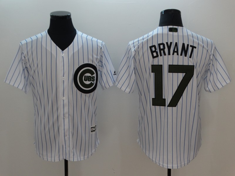 Men Chicago Cubs 17 Bryant White Commemorative Edition Game MLB Jerseys