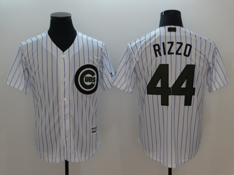 Men Chicago Cubs 44 Rizzo White Commemorative Edition Game MLB Jerseys