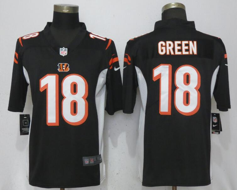 Men Cincinnati Bengals 18 Green Black Vapor Untouchable Player Nike Limited NFL Jerseys
