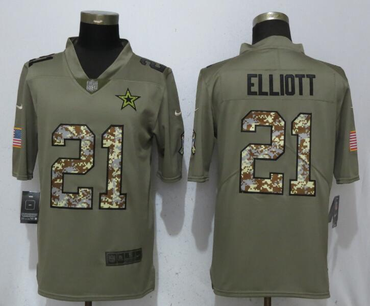 Men Dallas Cowboys 21 Elliott Olive Camo Carson Salute to Service Nike Limited NFL Jerseys