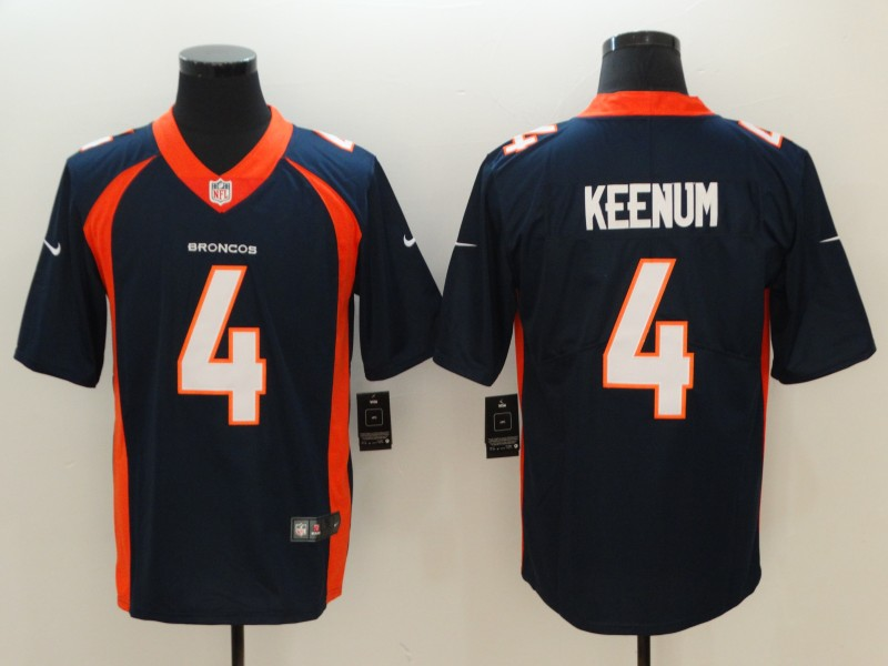 Men Denver Broncos 4 Keenum Blue Vapor Untouchable Player Nike Limited NFL Jerseys