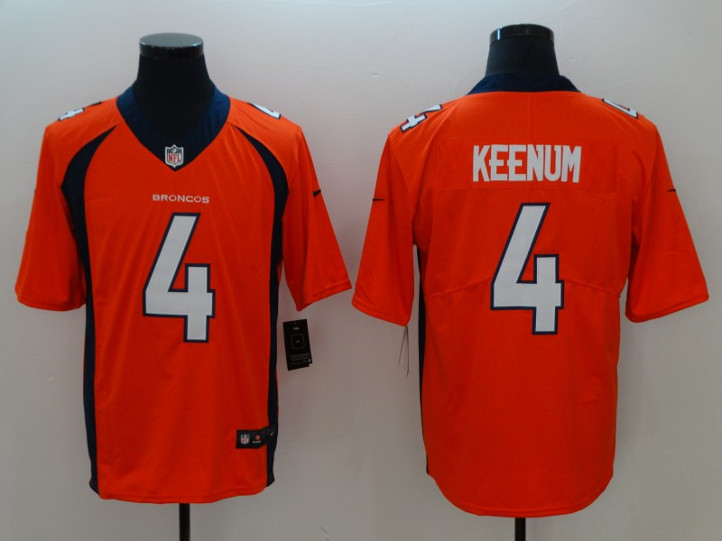 Men Denver Broncos 4 Keenum Orange Vapor Untouchable Player Nike Limited NFL Jerseys