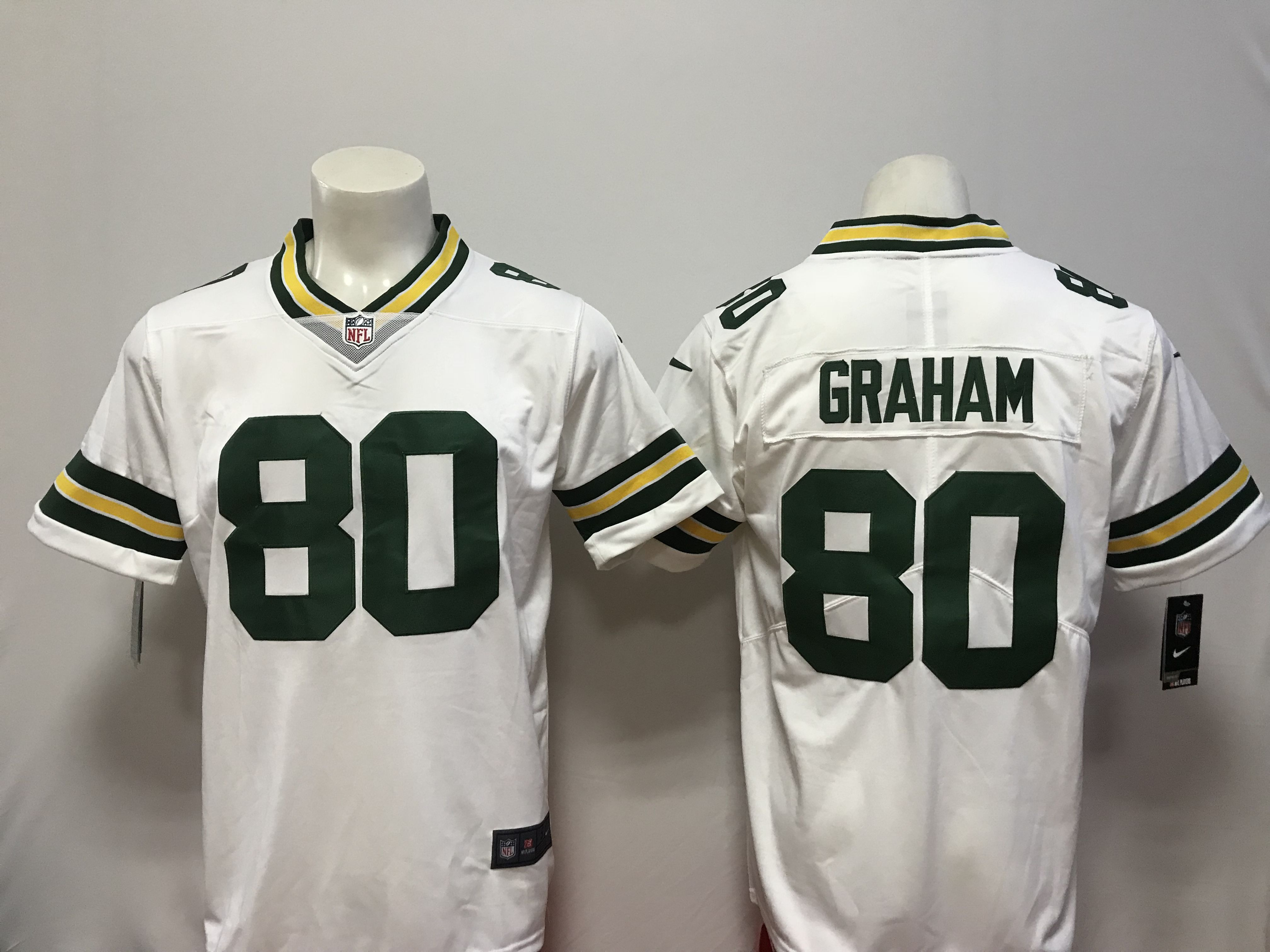 Men Green Bay Packers 80 Graham White Vapor Untouchable Player Nike Limited NFL Jerseys