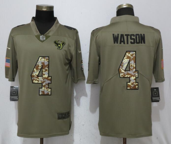 Men Houston Texans 4 Watson Olive Camo Carson Salute to Service Nike Limited NFL Jerseys