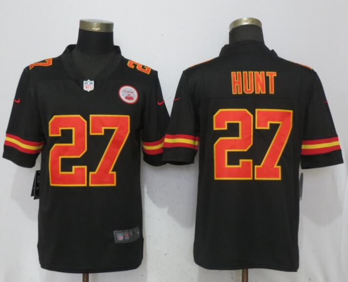 Men Kansas City Chiefs 27 Hunt Black Vapor Untouchable Player Nike Limited NFL Jerseys