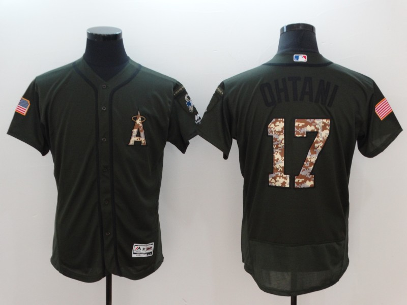 Men Los Angeles Angels 17 Ohtani Green Salute To Service Elite MLB Jerseys