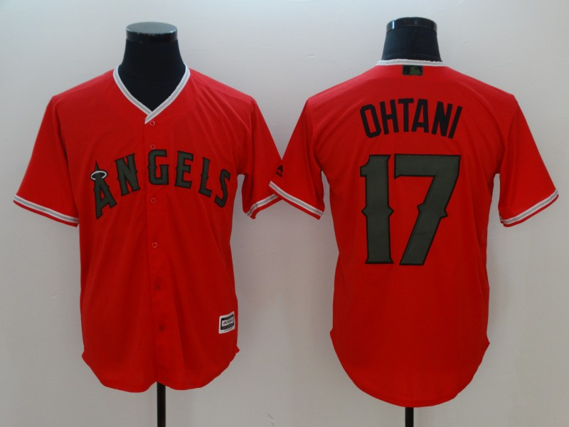 Men Los Angeles Angels 17 Ohtani Orange Game MLB Jerseys